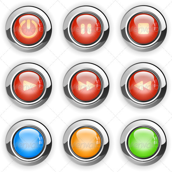 Media player buttons set - Web Elements Vectors
