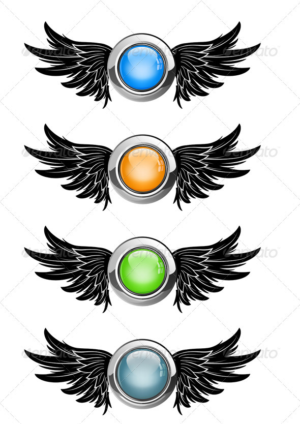 Winged Buttons - Decorative Vectors