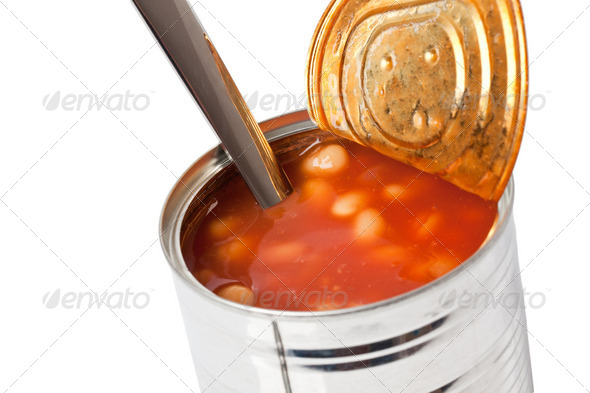 beans in tin can - Stock Photo - Images