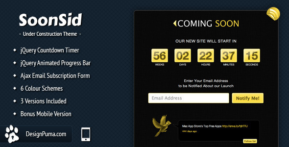 SoonSid - Coming Soon Theme - Under Construction Specialty Pages