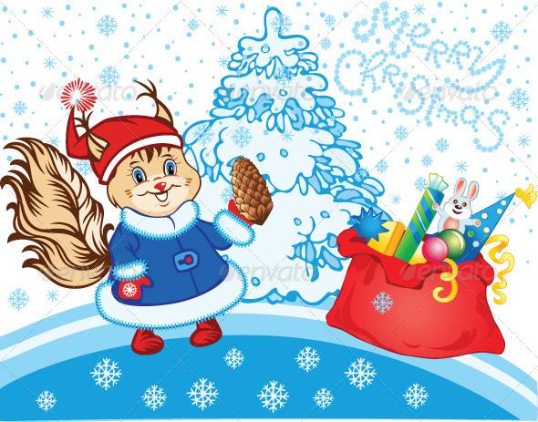Squirrel as Santa Claus - Christmas Seasons/Holidays
