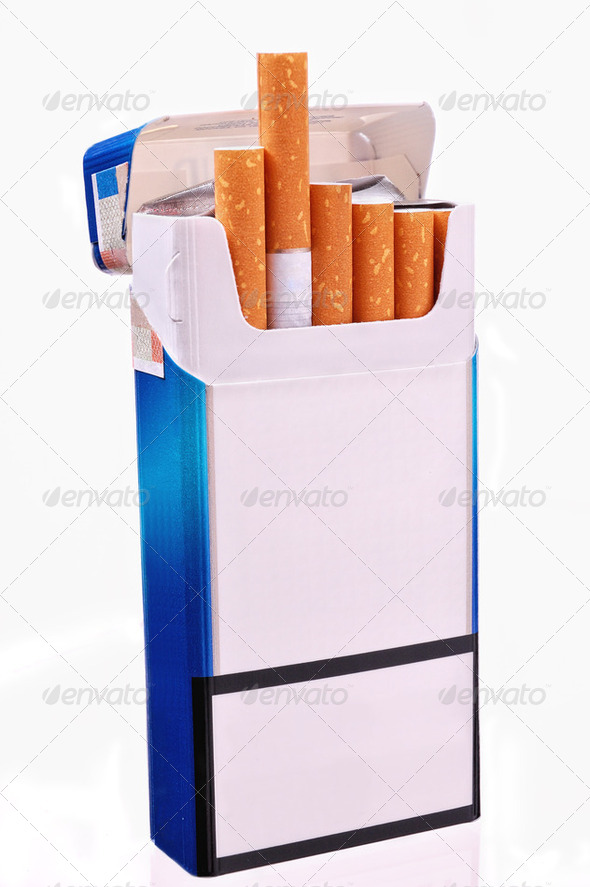 Open pack of cigarettes - Stock Photo - Images