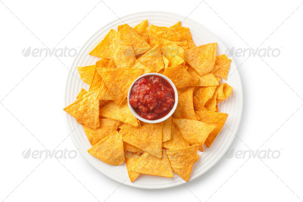 nachos and tomato dip - Stock Photo - Images