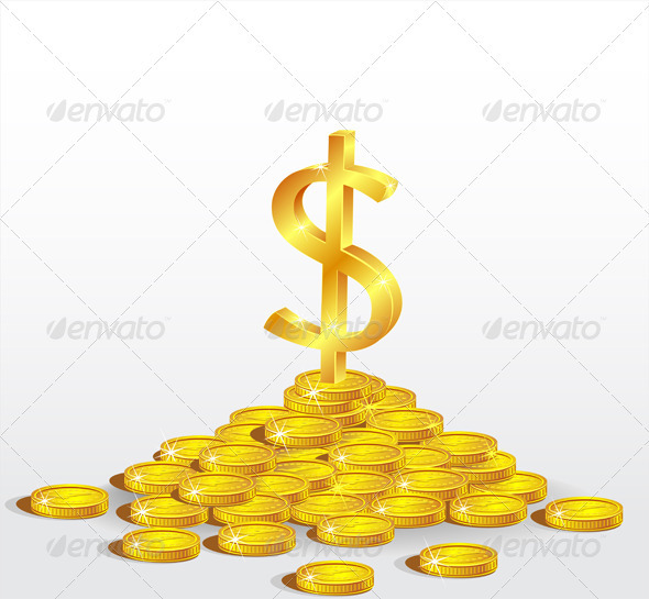 Symbol of Gold  Dollar with coins   - Business Conceptual