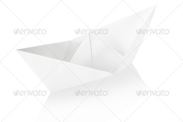 Paper boat on white - Stock Photo - Images