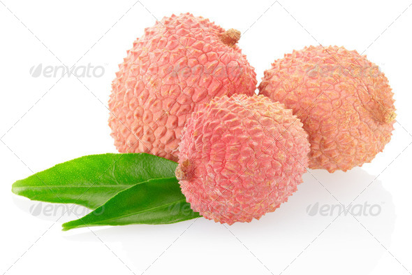 Lychees on white, clipping path included - Stock Photo - Images