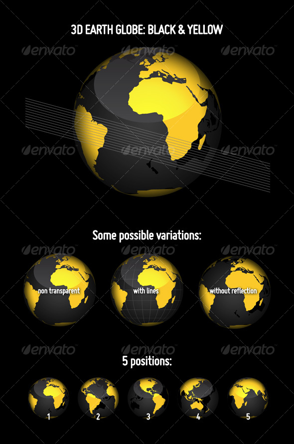 3D Earth Globe: Black & Yellow - Objects Vectors