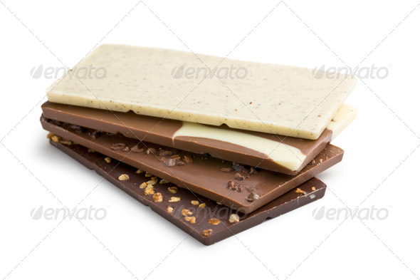 Stack of various chocolate bar - Stock Photo - Images