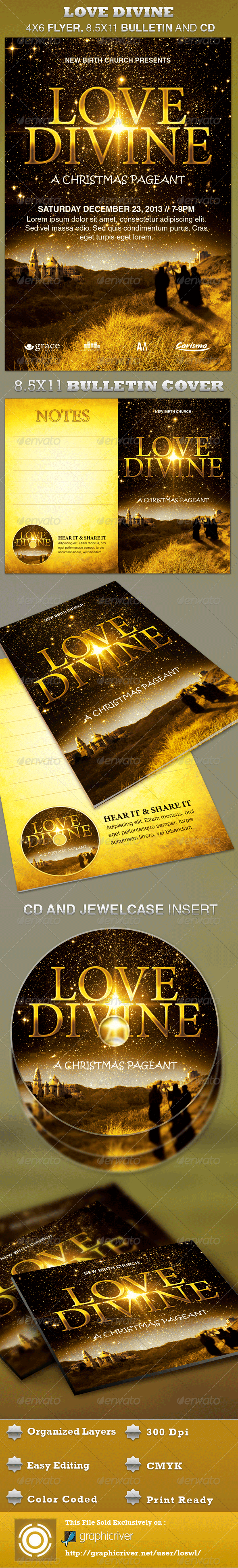 Love Divine Flyer, Bulletin and CD Template - Church Flyers