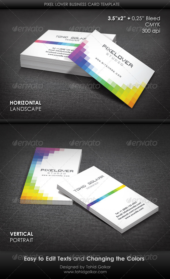 Pixel Lover Business Card Template by ThemeTor | GraphicRiver