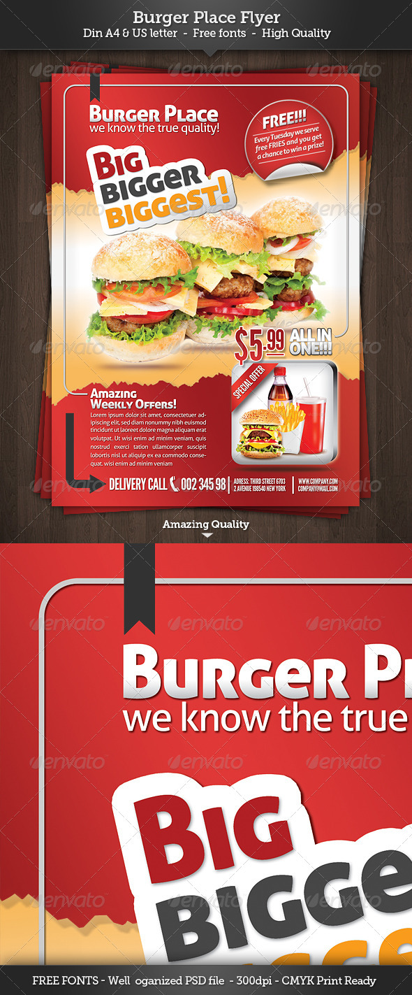 Burger Place - Fast Food Flyer - Restaurant Flyers