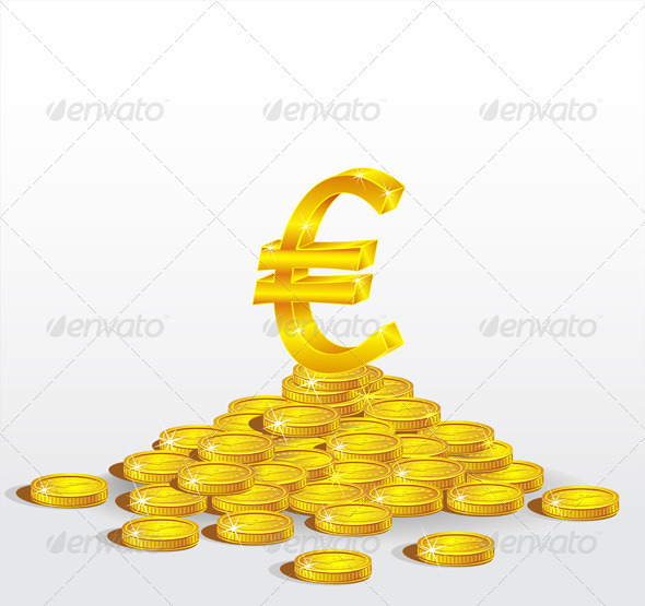 Symbol of Gold  Euro with coins   - Business Conceptual