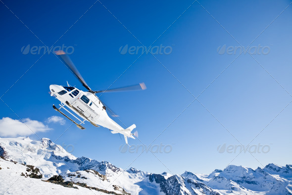 Heli Skiing Helicopter - Stock Photo - Images
