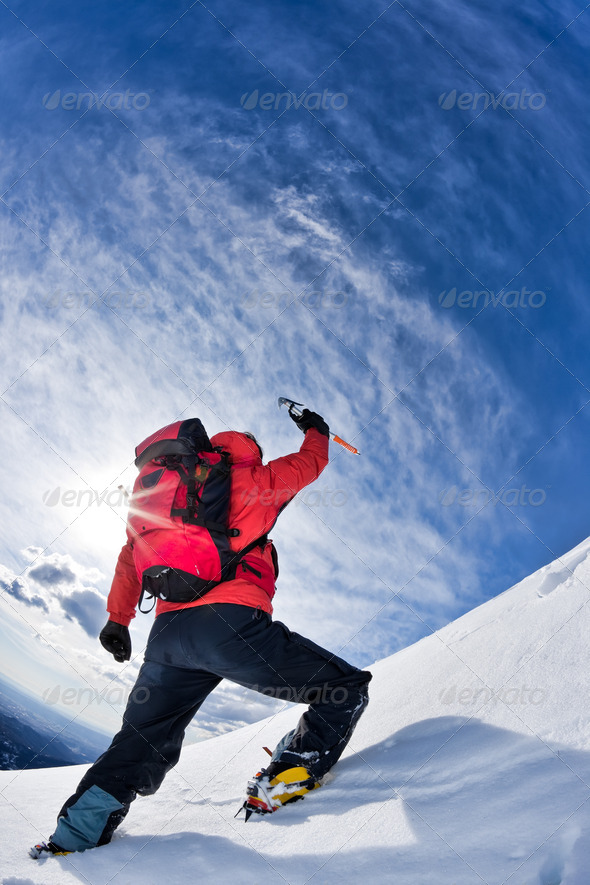 Reaching the summit - Stock Photo - Images