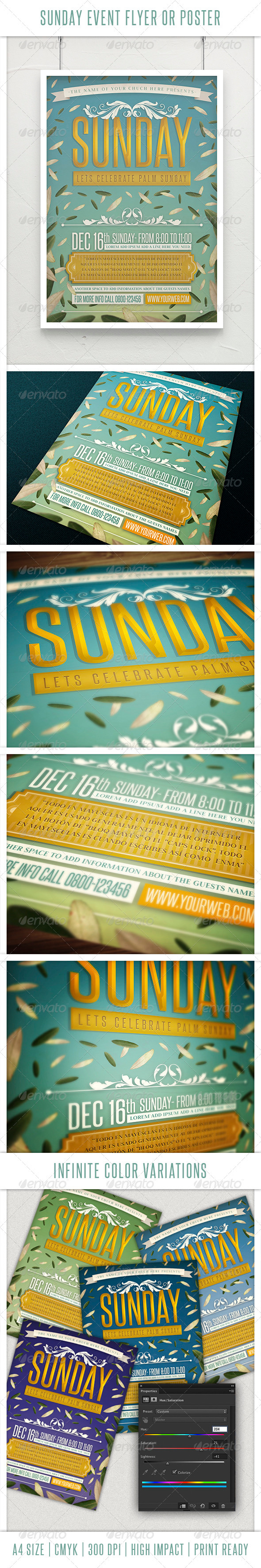 Sunday Event Flyer or Poster - Church Flyers