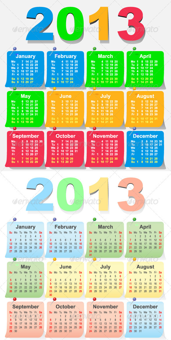 2013 Calendar Design - Week Starts with Monday - Man-made Objects Objects