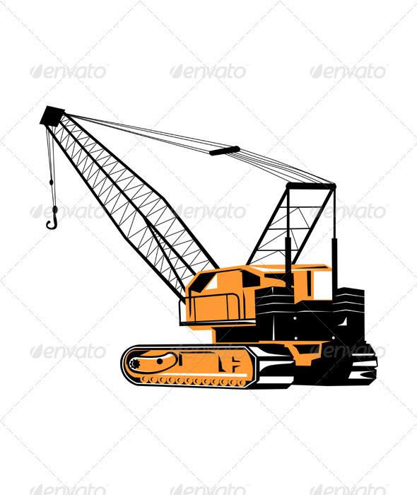 Construction Crane Hoist Retro - Industries Business