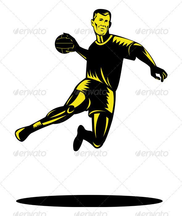 Handball Player Jumping Retro - Sports/Activity Conceptual