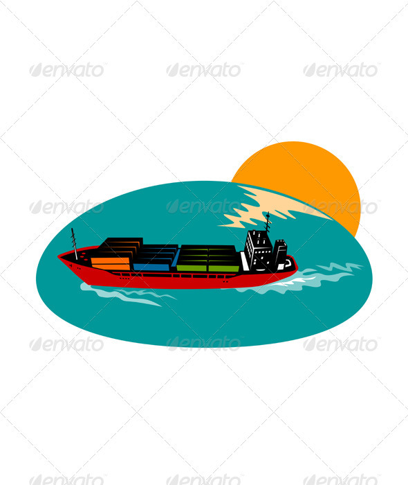 Container Ship Cargo Boat - Man-made Objects Objects