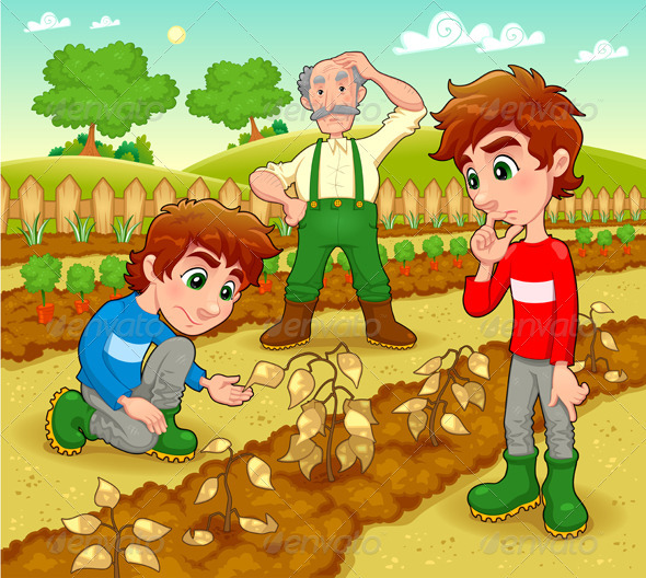 Funny scene in the vegetable garden. - Characters Vectors