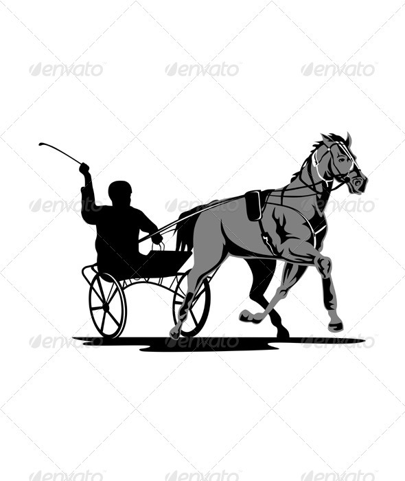 Horse and Jockey Harness Racing - Sports/Activity Conceptual