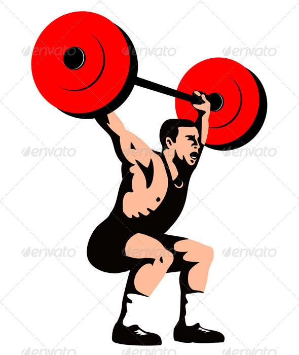 Weightlifter Lifting Weights Retro  - Sports/Activity Conceptual