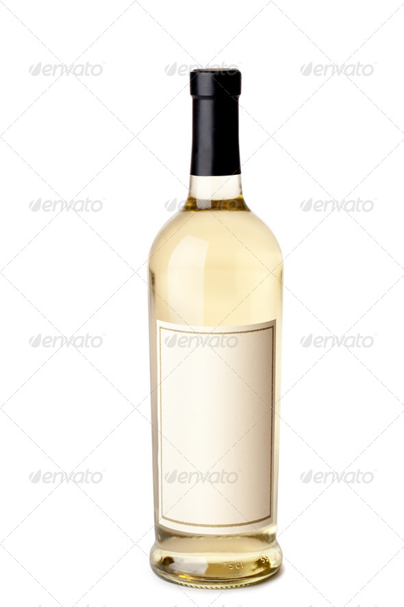 bottle of white wine - Stock Photo - Images