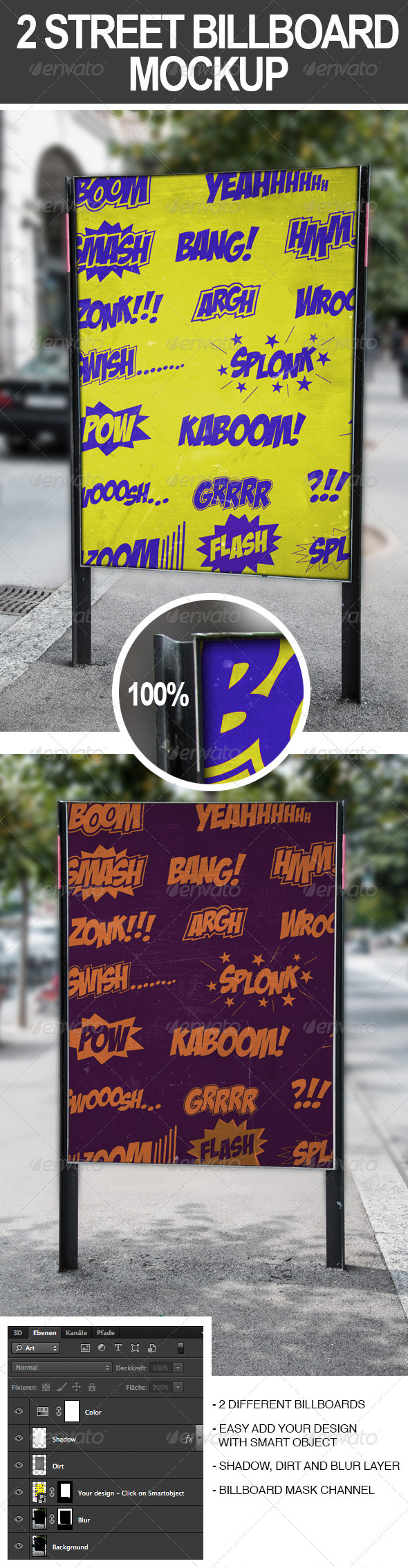 2 Street Billboard Mockups - Signage Print