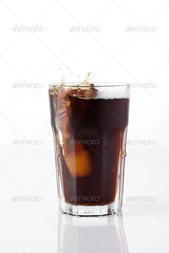 cola splash with ice - Stock Photo - Images