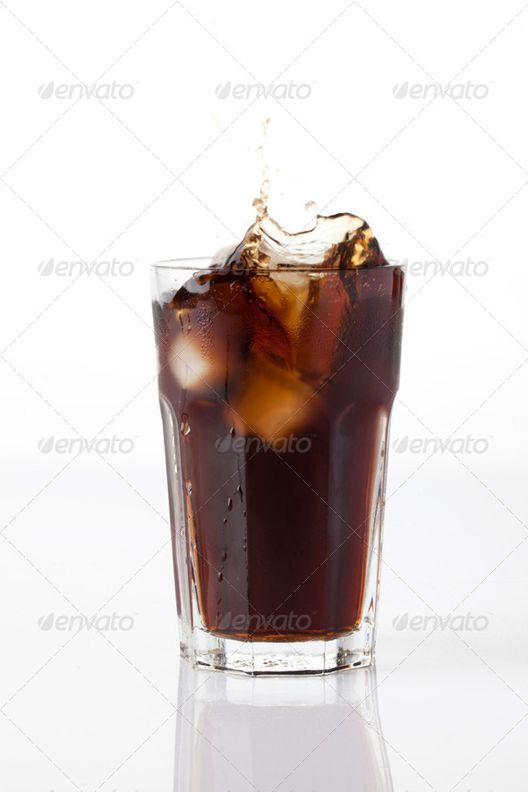 cola splash with ice - Stock Photo - Images