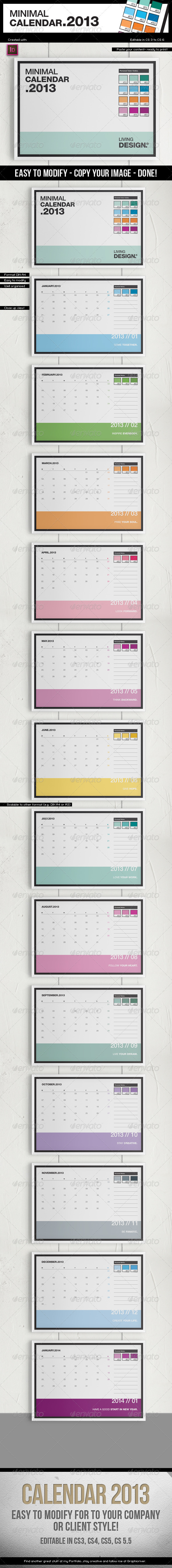 Calendar 2013 // A4 Template // Pantone ® Style - Calendars Stationery