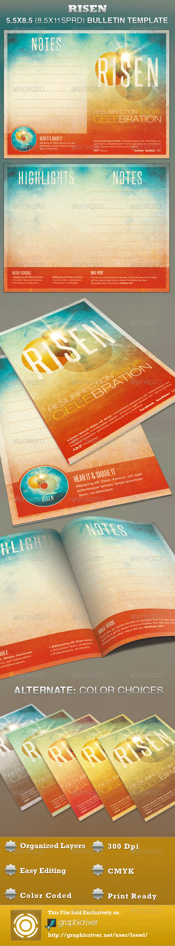 Risen Church Bulletin Template - Informational Brochures