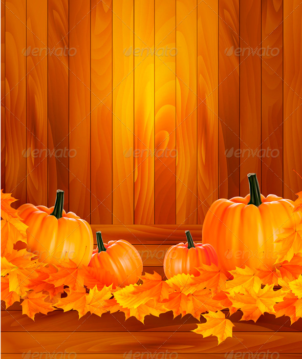 Pumpkins on wooden background with leaves - Seasons Nature