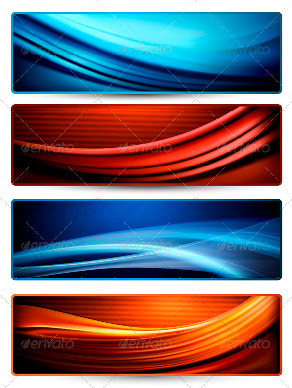 Set of colorful abstract business banners - Borders Decorative