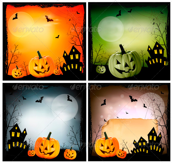 Four Halloween backgrounds - Halloween Seasons/Holidays
