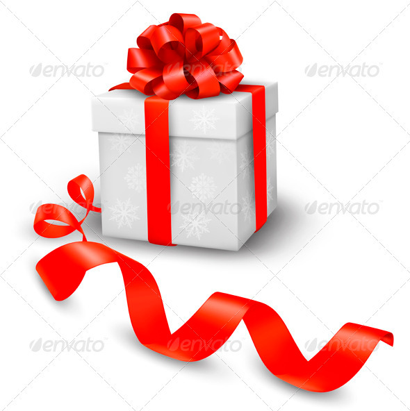 Red gift box with red ribbons - Christmas Seasons/Holidays