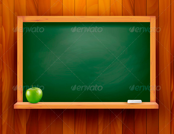 Blackboard with green apple on wooden background  - Backgrounds Business