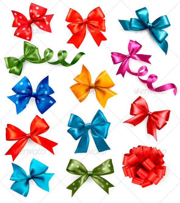 Big set of colorful gift bows with ribbons - Seasons/Holidays Conceptual