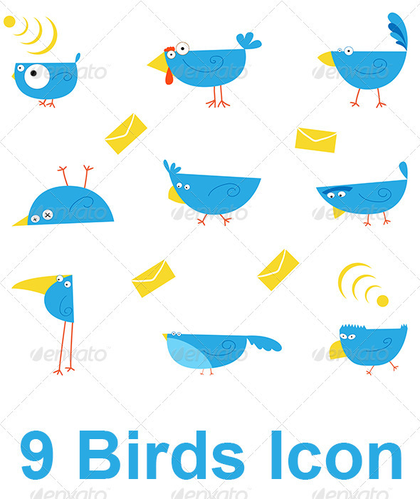 9 Birds Icon - Animals Characters