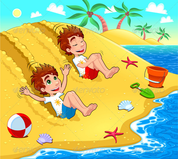 Twins are playing on the beach. - People Characters