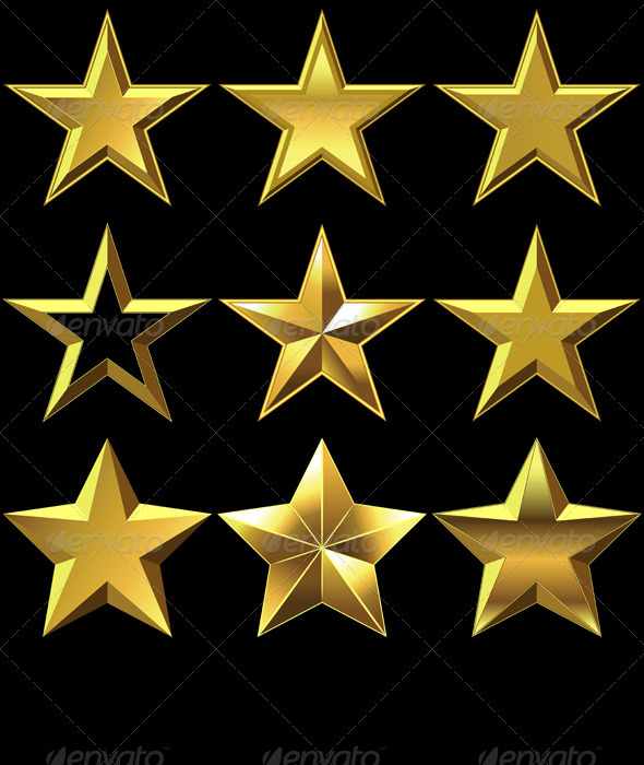 Vector Set of Golden Shiny Stars Bulk - Decorative Symbols Decorative