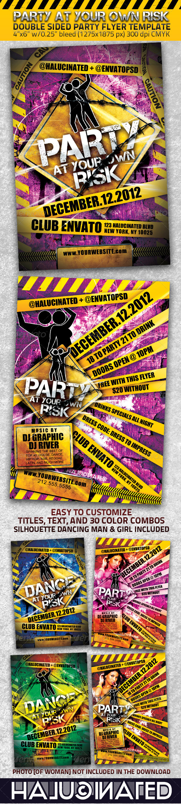 Party At Your Own Risk 2 Sided Flyer Template - Clubs & Parties Events