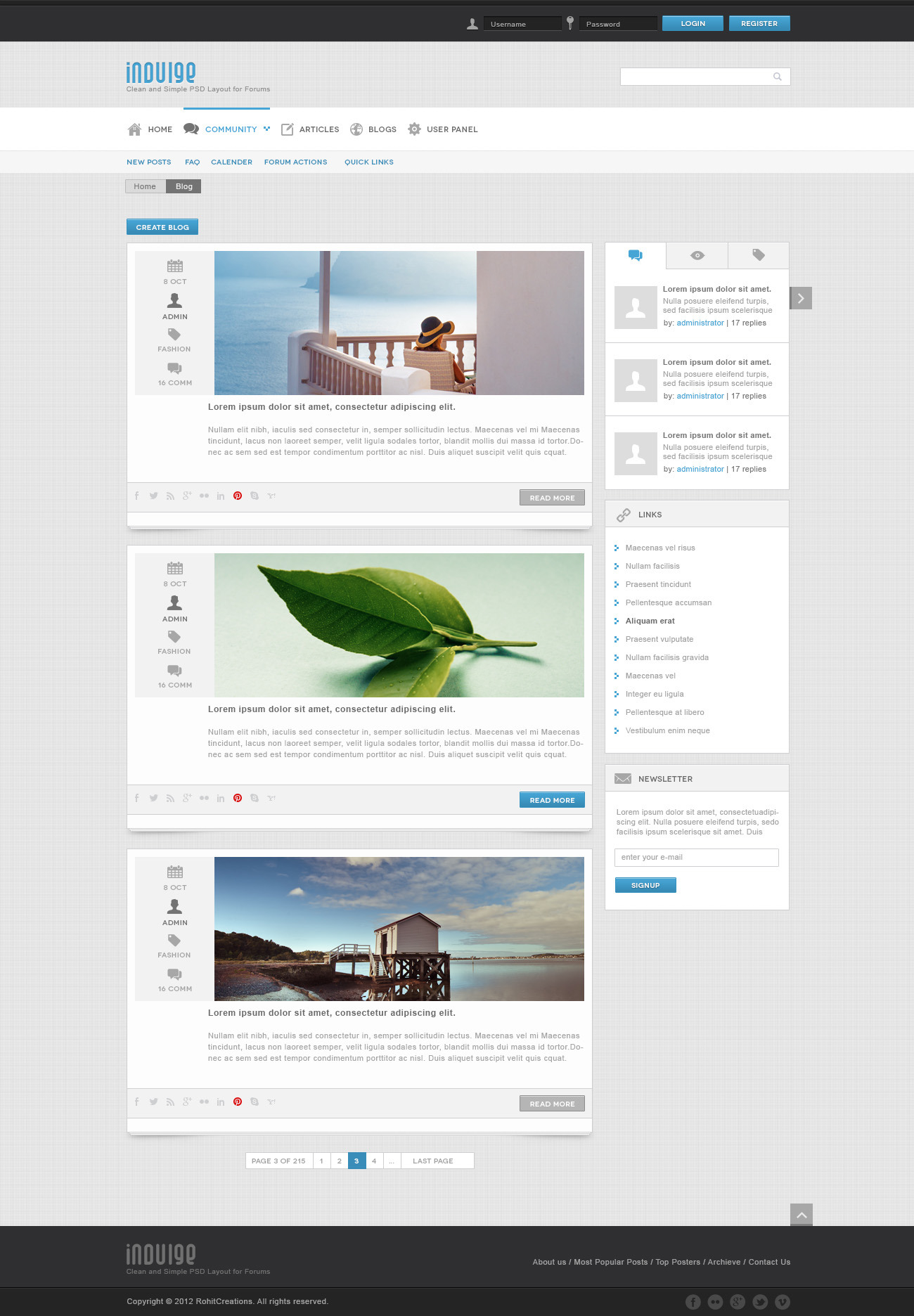 Indulge - Clean PSD for Forums and Blogs by WellMadePixel | ThemeForest