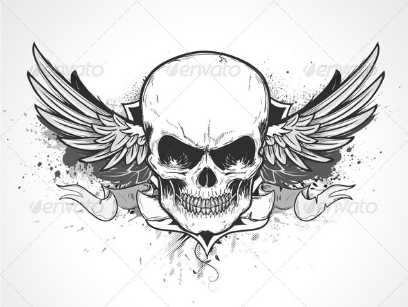 Winged human skull - Decorative Vectors