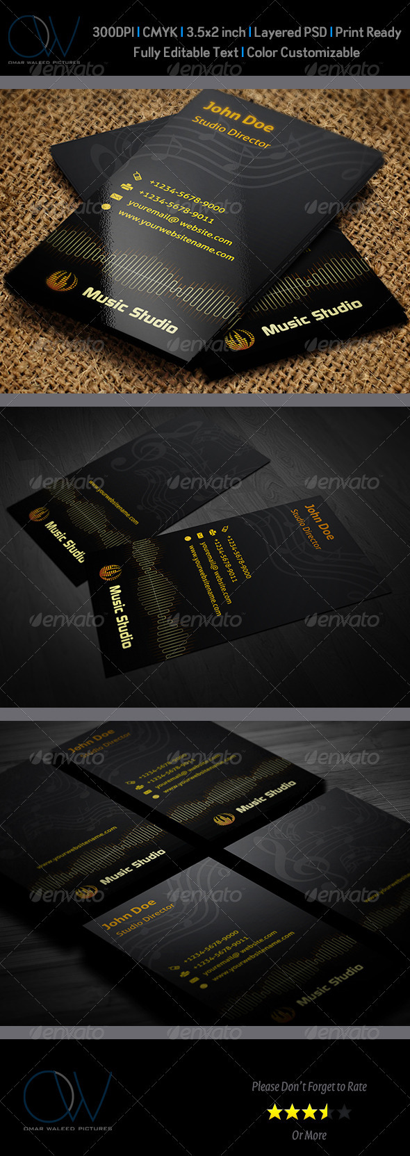 Music Studio Business Card - Industry Specific Business Cards