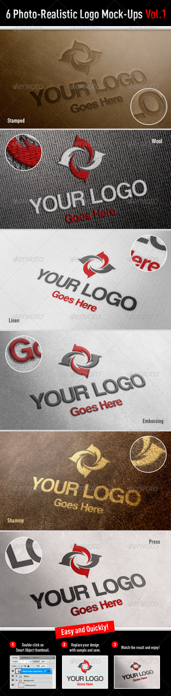 6 Photo-Realistic Logo Mock-Ups Vol.1 - Logo Product Mock-Ups