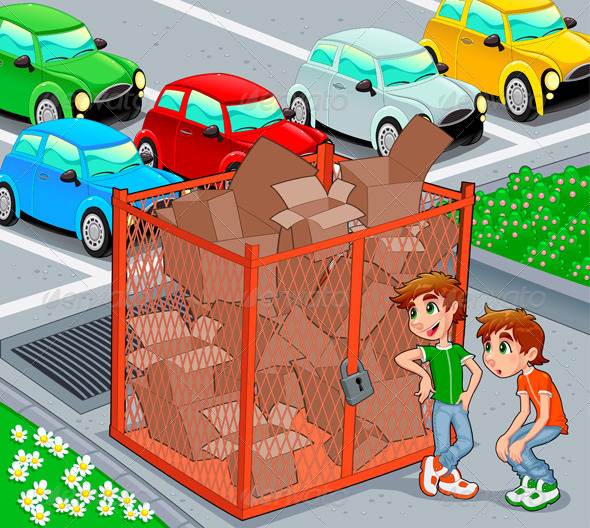 Twins are near a recycling cage.  - People Characters
