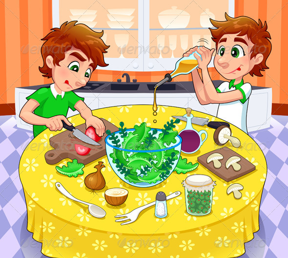 Twins are preparing a green salad.  - Food Objects