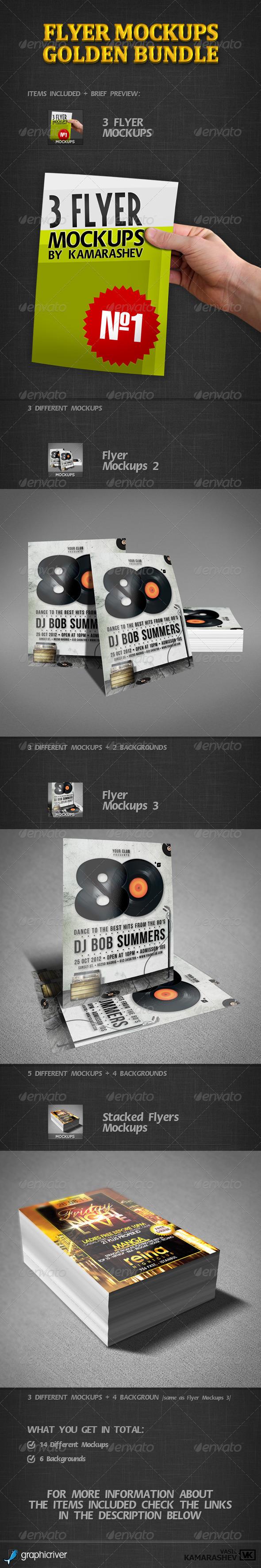 Flyer Mockups Golden Bundle - Flyers Print