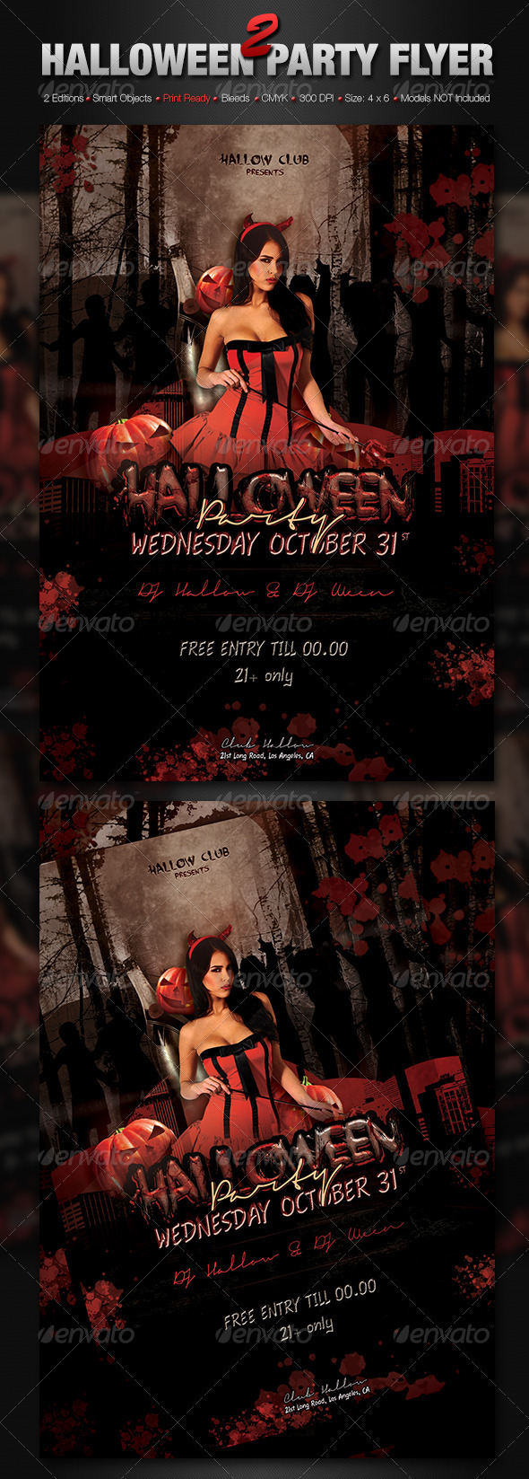 2 Halloween Party Flyers - Holidays Events